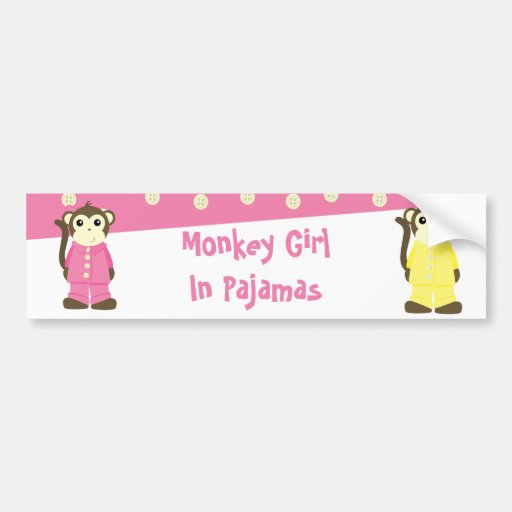 Monkey in Pajamas Car Bumper Sticker