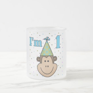 Monkey in Party Hat 1st Birthday Tshirts Mugs
