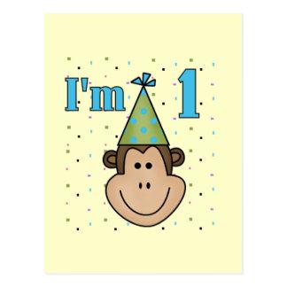Monkey in Party Hat 1st Birthday Tshirts Postcard