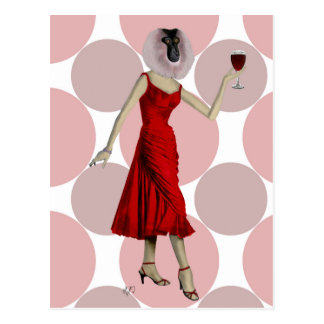 Monkey in Red Dress with wine Postcard