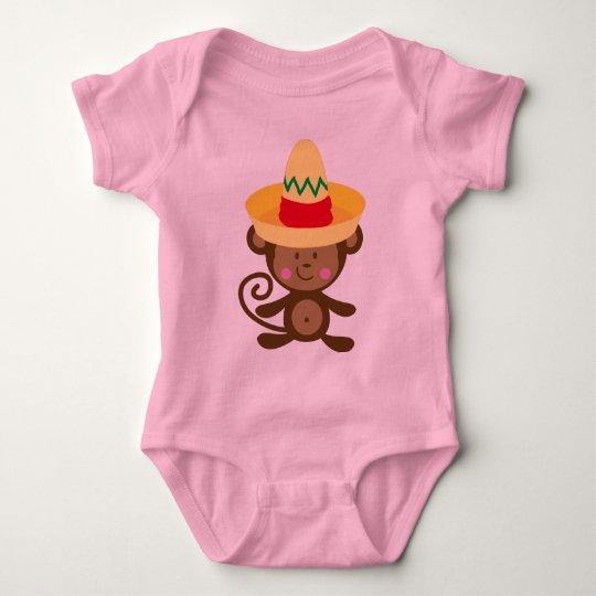 Monkey In Sombrero Gift Baby Bodysuit