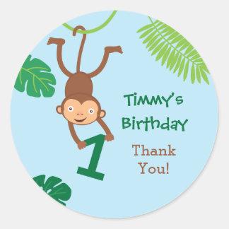 Monkey in the Jungle First Birthday Favor Sticker