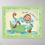 Monkey in Tub Bathroom Art Print - Light Brown Mon