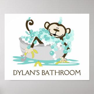 Monkey in Tub Bathroom Art Print - Personalized