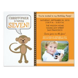 Monkey-ing Around Birthday Party Invite (orange)