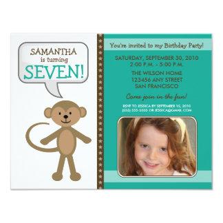 Monkey-ing Around Birthday Party Invite (teal)