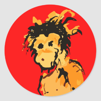 monkey ink classic round sticker