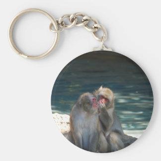 Monkey inspection basic round button keychain
