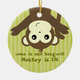 Monkey is in.out ceramic ornament