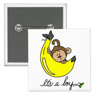 Monkey It's a Boy Tshirts and Gifts 2 Inch Square Button