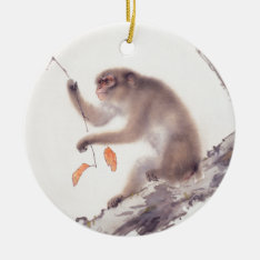 Monkey Japanese Painting Chinese Zodiac Round O Ceramic Ornament at Zazzle