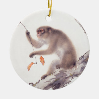 Monkey Japanese Painting Chinese Zodiac Round O Ceramic Ornament