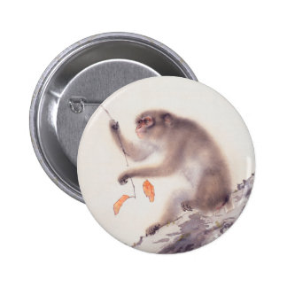 Monkey Japanese Painting - Year of the Monkey Button