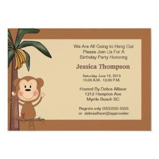 Monkey Jungle Birthday  Party Invitation