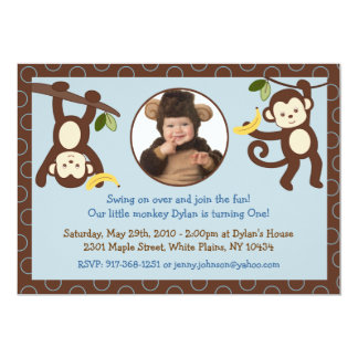 Monkey Jungle Custom Photo Birthday Invitations