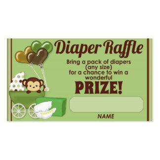 Monkey Jungle Diaper Raffle Tickets 100pk Business Card