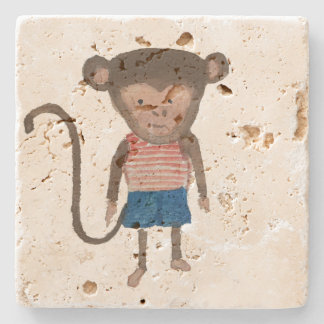 Monkey Jungle Friends Baby Animal Water Color Stone Coaster