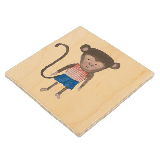 Monkey Jungle Friends Baby Animal Water Color Wooden Coaster