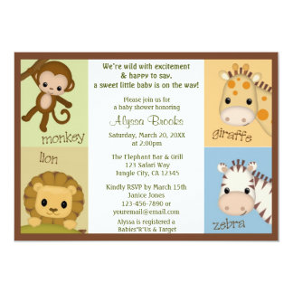 "Monkey Jungle MONKEY Baby Shower invitation MJS 5"" X 7"" Invitation Card"