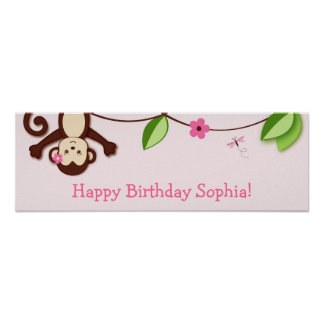Monkey Jungle Personalized Birthday Banner Poster