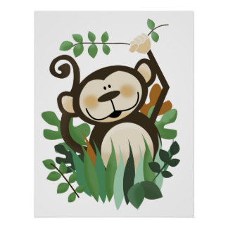 Monkey Jungle Safari Wall Art Print