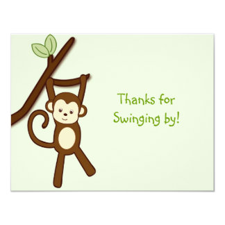 Monkey Jungle Thank You Note Cards Flat