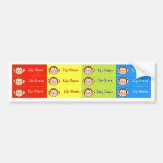 Monkey Kids Personalized name Waterproof Labels Bumper Stickers