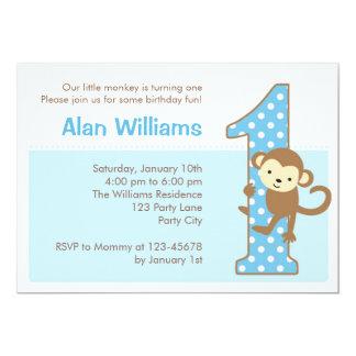 Monkey la 1ra invitación del cumpleaños para los