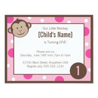 """Monkey la invitación rosada 4,25"""" del cumpleaños invitación 10,8 x 13,9 cm"""