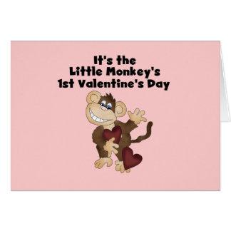 Monkey las 1ras camisetas del día de San Valentín Tarjeta De Felicitación
