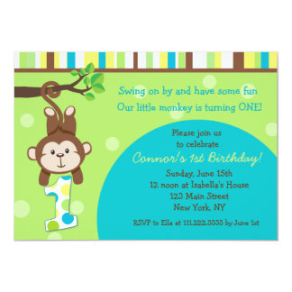 """Monkey las 1ras invitaciones del cumpleaños invitación 5"""" x 7"""""""