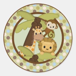 Monkey Lion Baby Shower round sticker seal JPN-M