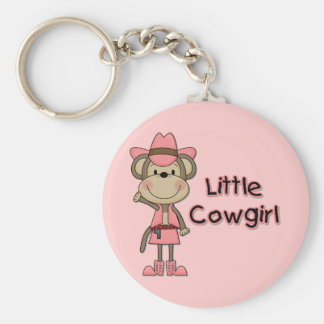 Monkey Little Cowgirl Tshirts and Gifts Basic Round Button Keychain
