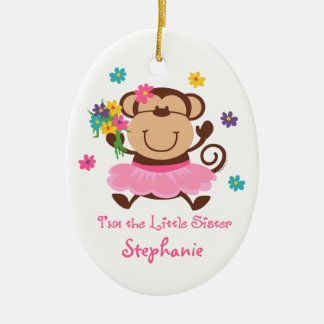 Monkey Little Sister Personalized Ornament