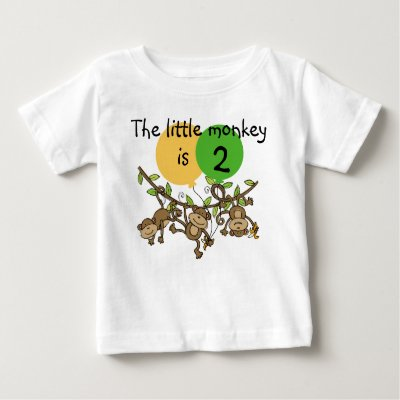Personalized Little Monkey 2nd Birthday T Shirt
