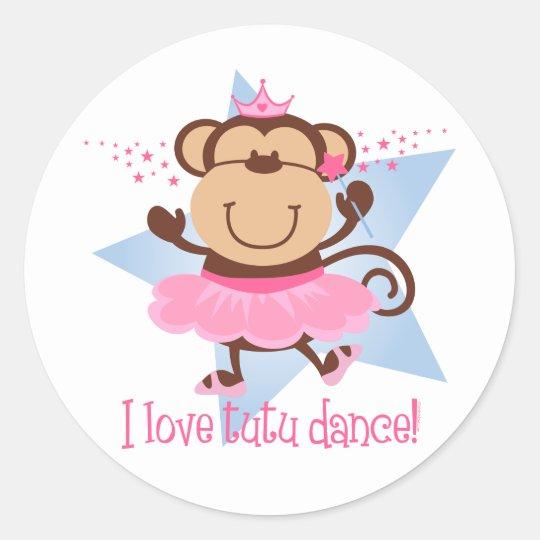 Monkey Love Tutu Dance Classic Round Sticker