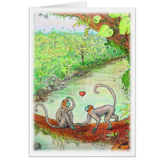 Monkey Love Valentine's Greeting Card