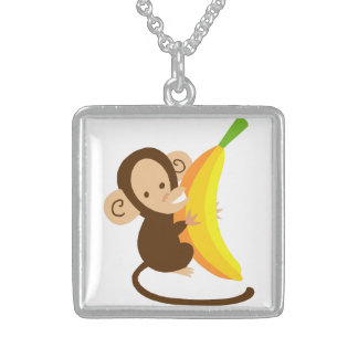 Monkey Loves Banana Square Pendant Necklace