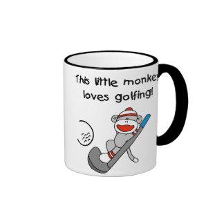 Monkey Loves Golfing Ringer Mug