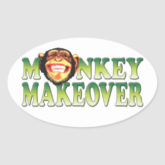 Monkey Makeover Oval Stickers