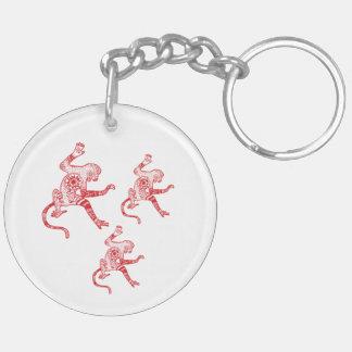 Monkey mandala Circle (double-sided) Keychain