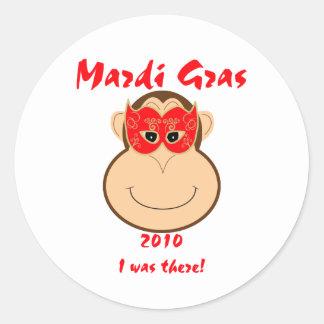Monkey Mardi Gras gear: T-shirts and mugs Classic Round Sticker