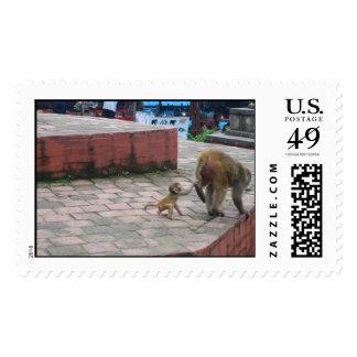 monkey mom and kid postage