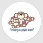 Monkey Mommy Classic Round Sticker