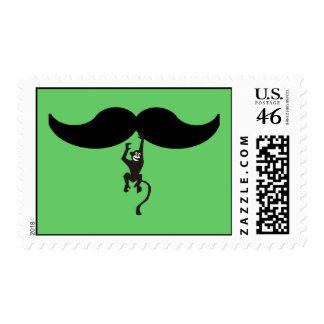 monkey mustache postage stamp