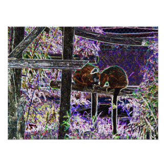 Monkey Neon Art Electric Lights Zoo Animals Print