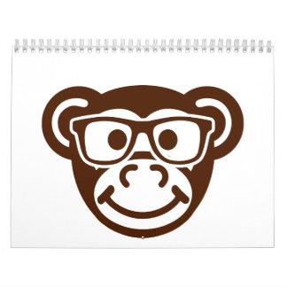 Monkey nerd hipster calendar