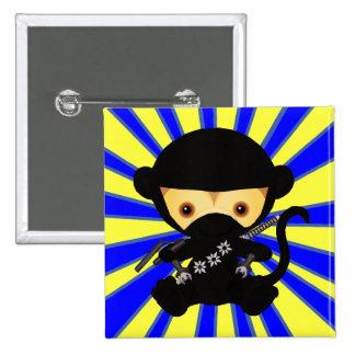 Monkey Ninja Kawaii style 2 Inch Square Button