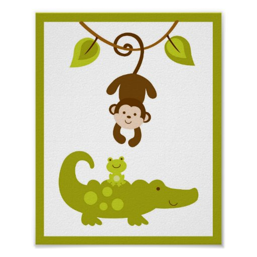 Monkey Nursery Wall Art Print