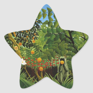 Monkey of foreign scenery primenal forest star sticker